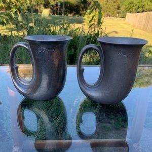 Vintage pewter horn shaped mugs